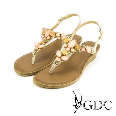 GDC-舒適真皮水鑽寶石楔型厚底T字涼拖鞋-米杏色