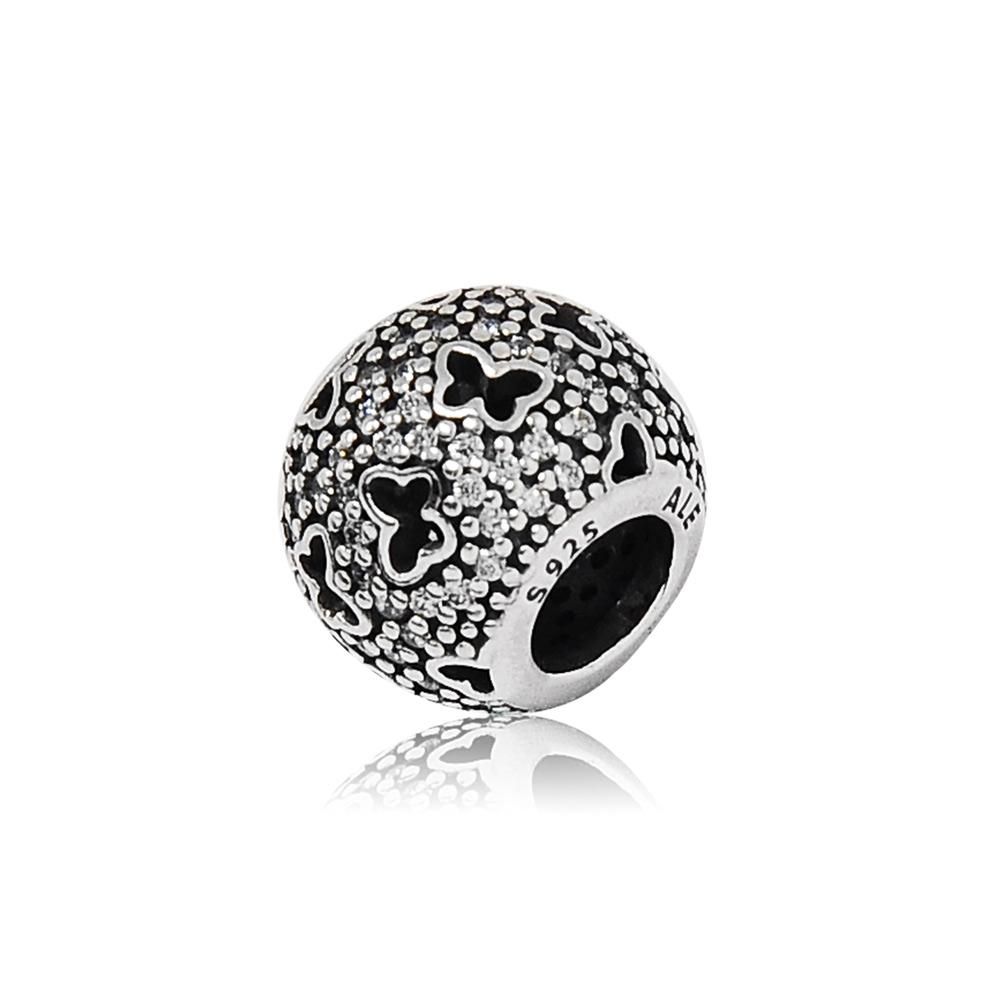 Pandora 潘朵拉 圓形亮鑽鏤空蝴蝶 純銀墜飾 串珠