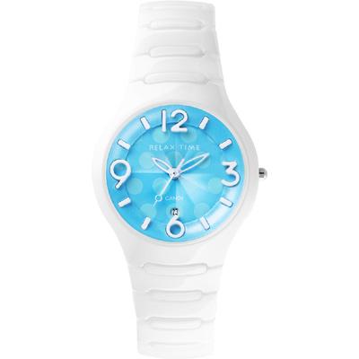 Relax Time Sweet Candy 甜心點點女孩陶瓷腕錶-藍x白/37mm