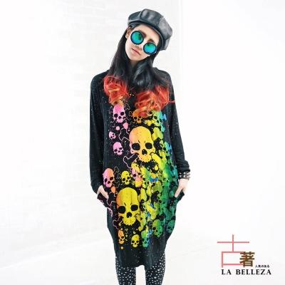 古著 彩色多顆骷顱頭側口袋長版連帽洋裝-La Belleza