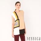 JESSICA-復古色塊幾何圖紋上衣