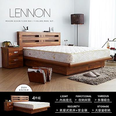 藍儂田園鄉村風系列雙人房間掀床組4件式-床頭+掀床+二抽櫃+床墊