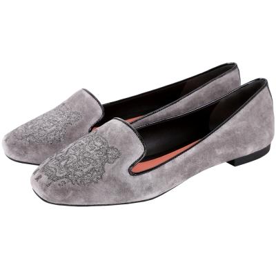 KENZO Tiger 老虎刺繡麂皮樂福鞋(灰色)