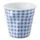 法國-REVOL-FRO-藍格紋-陶瓷皺折杯-80