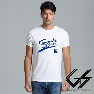 簡約個性藍色字體磨毛水洗T恤 (共二色)-GraphicSpace