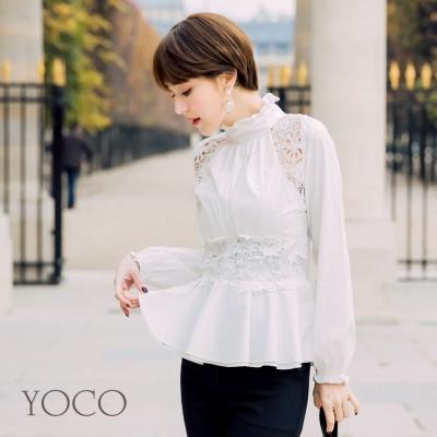 東京著衣-yoco 安琪聯名法式蕾絲雕花收腰上衣-XS.S.M.L(共一色)