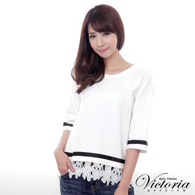 Victoria 緞帶裝飾拉克蘭袖T-女-白色