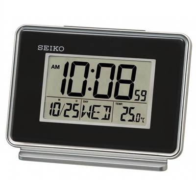 SEIKO 雙鬧鐘 溫度/日期顯示 電子鍾(QHL068K)-黑/9x12.7cm