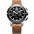 FIYTA 飛亞達 紳士粗獷系列石英男錶-黑x咖啡色錶帶/46mm