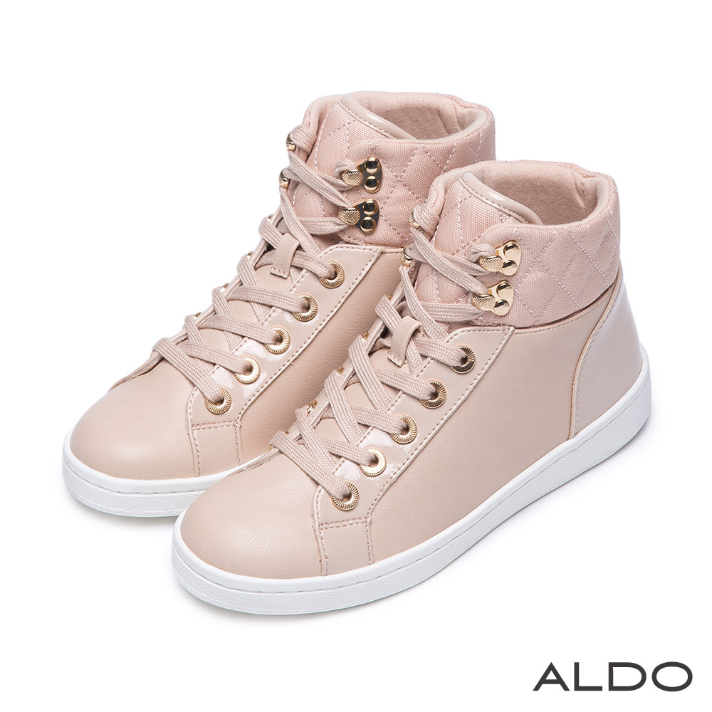 ALDO 個性街頭風原色金屬高筒綁帶式運動鞋~氣質裸色