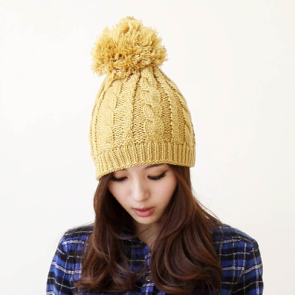 Blossom Gal麻花編織雙層毛球帽(共三色)
