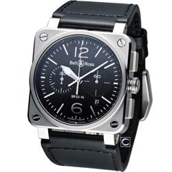 Bell & Ross 飛鷹戰士 自動機械計時腕錶-黑/42mm