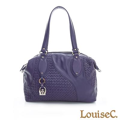 LouiseC. 羊皮手工編織不對稱圖紋大容量肩背包-紫色-02L06-0028A10