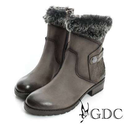 GDC個性-率性軍風皮帶毛毛真皮中筒靴-槍灰色