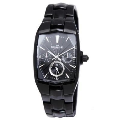 MORRIS K 巴黎時尚IP黑三眼波紋腕錶(IP黑/37mm)