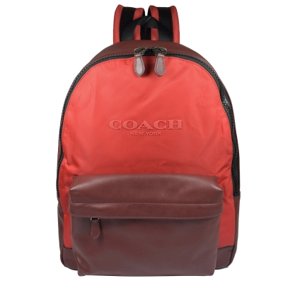 COACH 大LOGO尼龍拼牛皮大後背包(紅)COACH