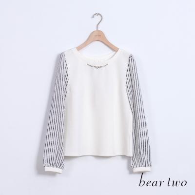 beartwo-氣質款條紋拼接造型雪紡上衣-二色