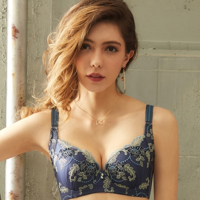 EASY SHOP-濃情愛戀 A-D罩成套內衣(沉靜藍)