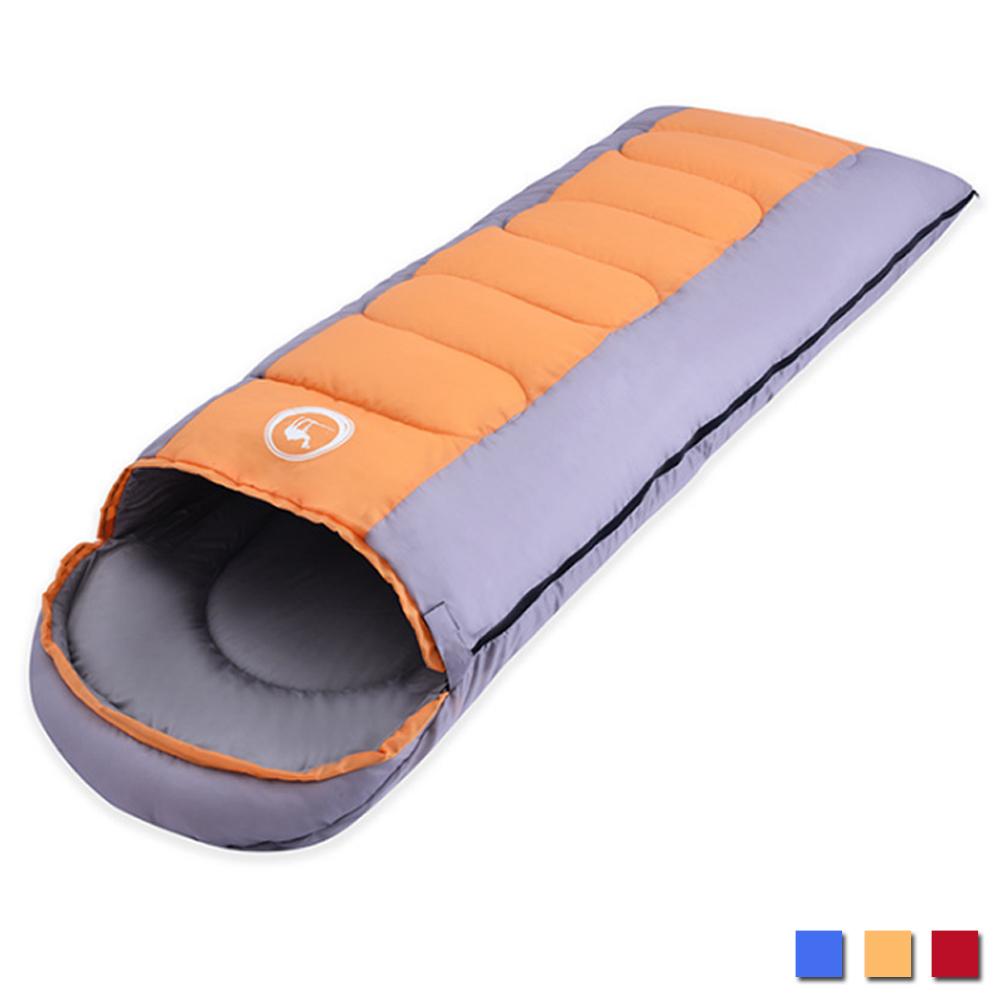 PUSH! 登山戶外用品 全開式可拼接帶帽帶防風領圍1.6KG親膚四季睡袋P96橙色