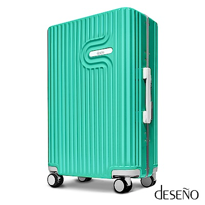 Deseno 棉花糖-24吋PC鏡面細鋁框行李箱-藍綠