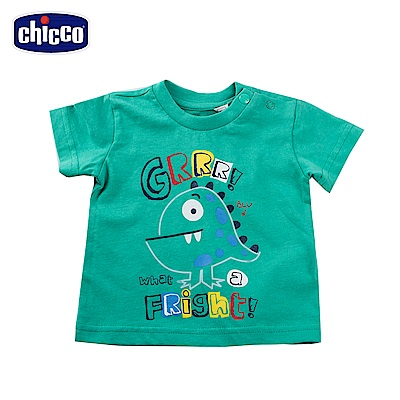chicco-To Be Baby-怪獸印花短袖上衣-綠(12個月-4歲)