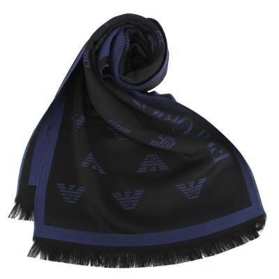 Emporio Armani 雙面老鷹LOGO羊毛圍巾-深藍