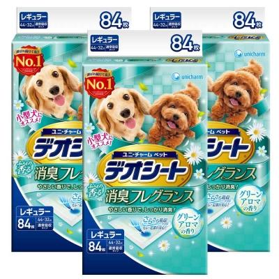 日本Unicharm消臭大師 小型犬狗尿墊 森林香 M號 84片裝 x <b>3</b>包