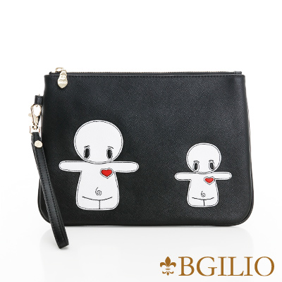 義大利BGilio-俏皮童趣造型萬用包(融情雪人-大款)-黑色2243.002-05