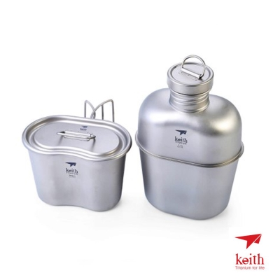 KEITH 100%純鈦 極輕量化1100+700ml 限量版迷彩軍規水壺