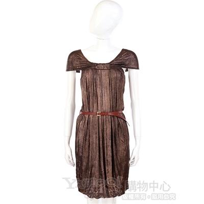 PLEIN SUD JEANIUS 咖啡金蔥抓摺洋裝(不含腰帶)