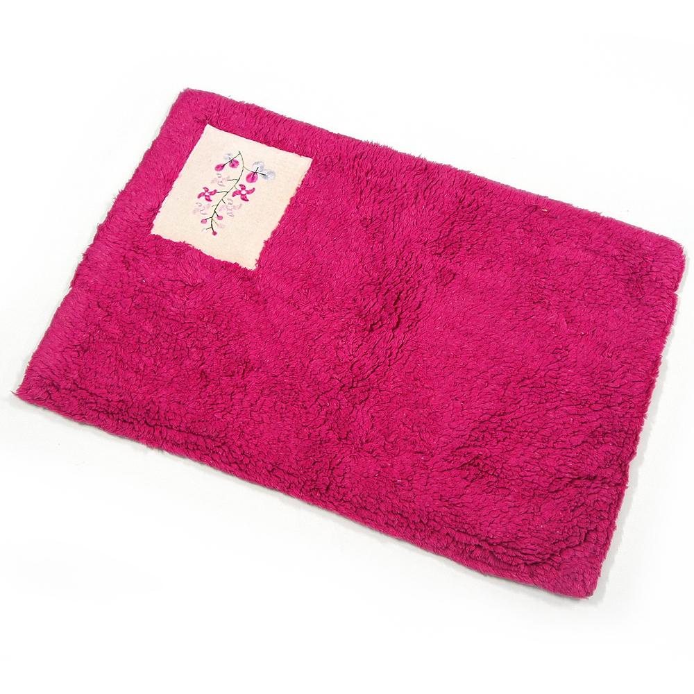 布安於室-刺繡純棉踏墊(超值2入組)-桃紅