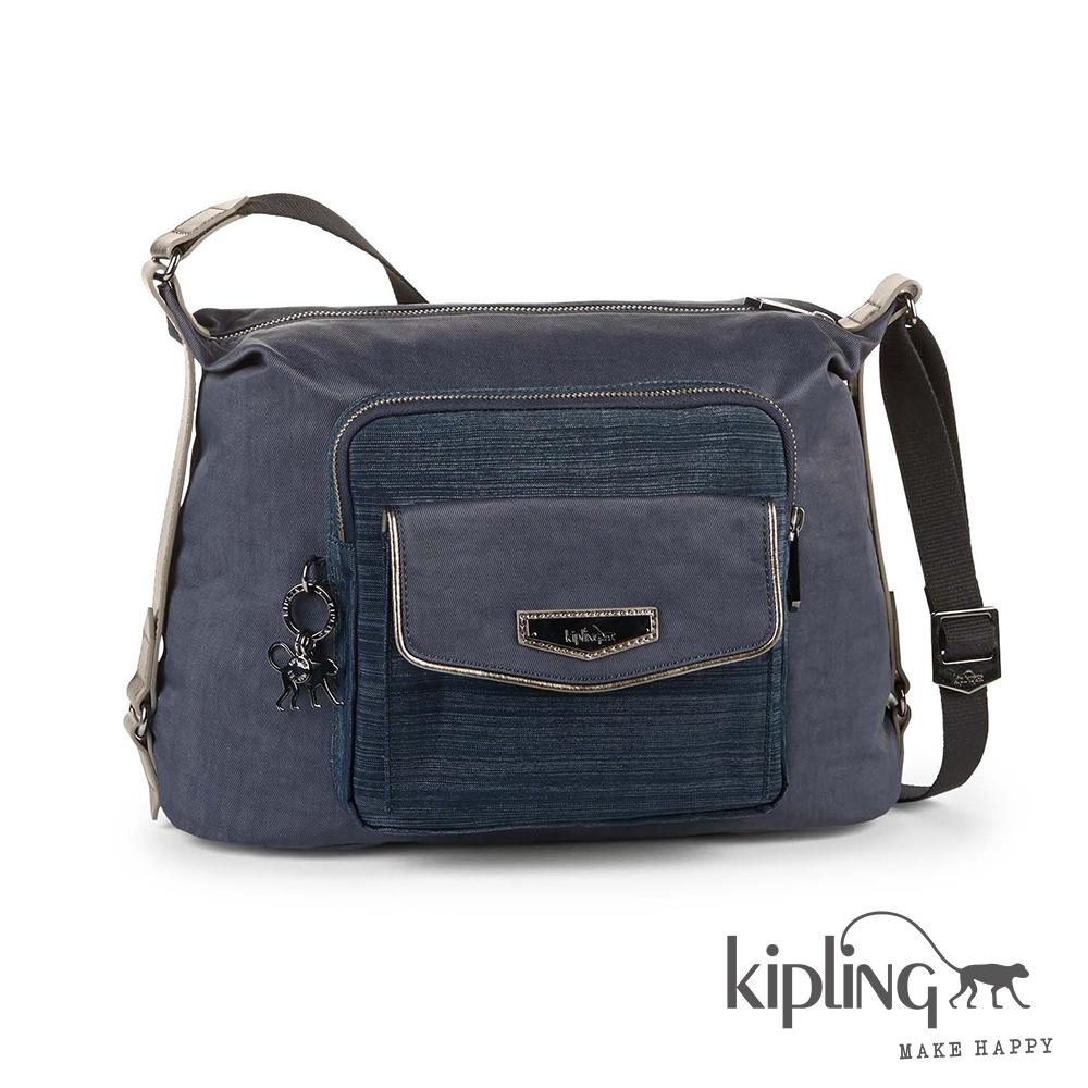 Kipling 斜背包 紋路質感藍