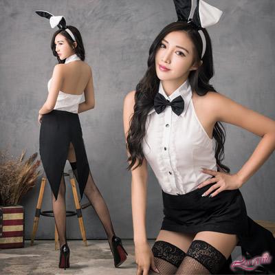 兔女郎 經典黑白兔女郎角色扮演服四件組(白F) Lorraine