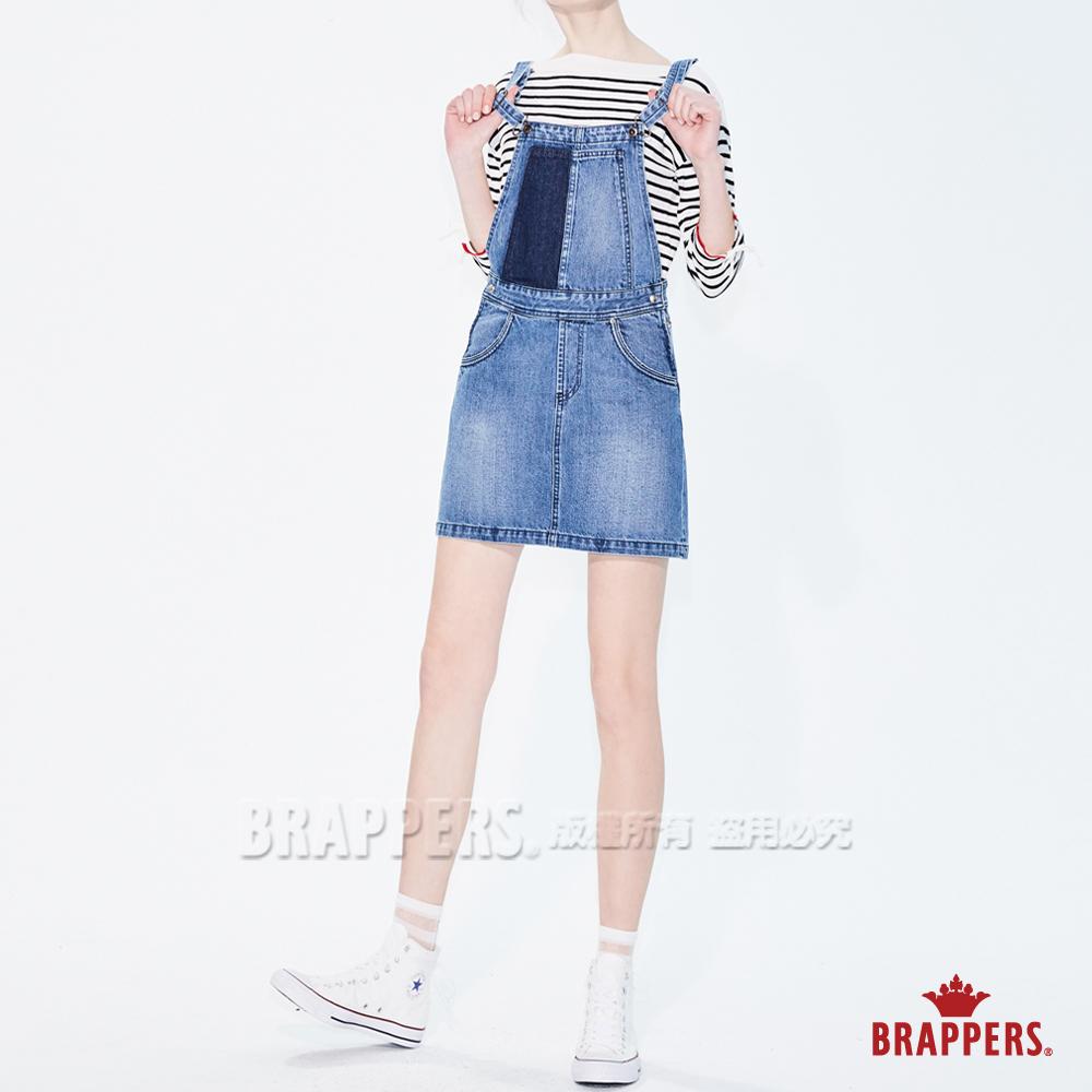 BRAPPERS 女款 Boy friend系列-拼色吊帶短裙-藍