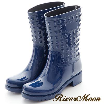 River&Moon歐美街拍風-個性鉚釘防水雨靴-藍