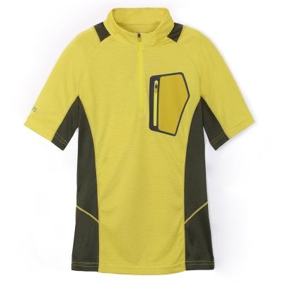【ATUNAS 歐都納】男款吸濕排汗抗UV短袖立領T恤 A1-T1513M 芥末黃