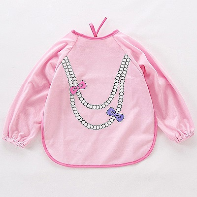 Baby unicorn 粉紅蝴蝶結項鍊造型長袖圍兜