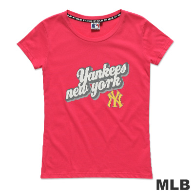 MLB-紐約洋基隊立體文字純棉短袖T恤-深粉紅(女)