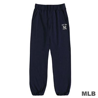 MLB-紐約洋基隊LOGO繡花縮口薄棉褲-深藍 (女)