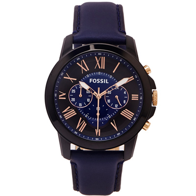 FOSSIL  羅馬優雅風計時的皮帶手錶(FS5061)-靛色面/44mm