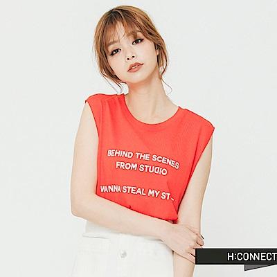 H:CONNECT 韓國品牌 女裝 - 純色圓領印字背心-紅