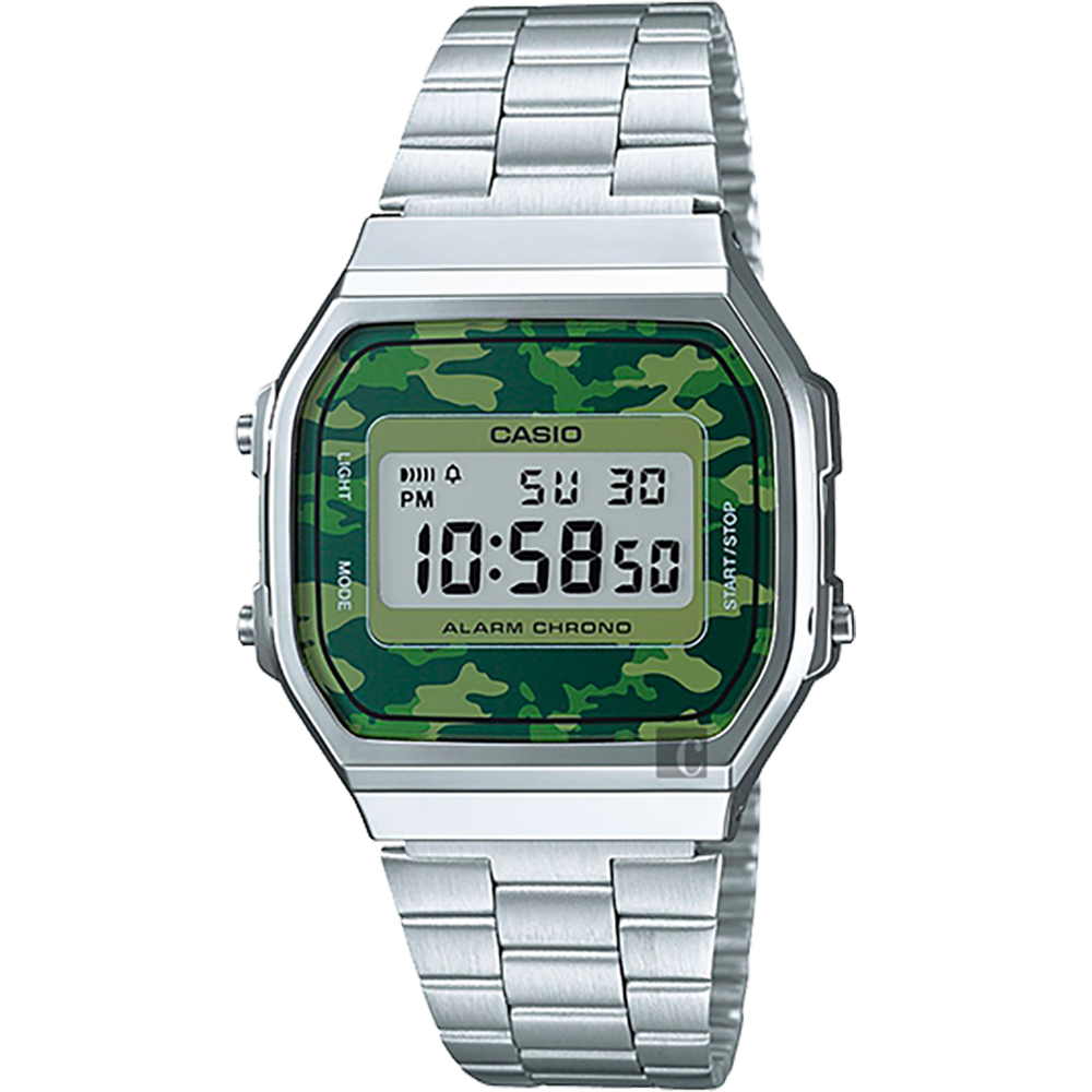 CASIO 卡西歐 Digital 迷彩電子錶-綠x銀/38.6mm