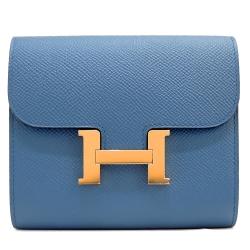 Hermes ConstanceEP牛皮H釦短夾(灰藍2R/金釦)