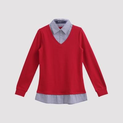 Hang Ten - 女裝 - 學院風條紋拼接POLO衫 - 紅