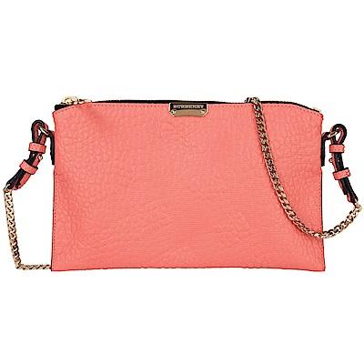 BURBERRY 玫瑰粉浮雕格紋手拿/鍊帶包(展示品)