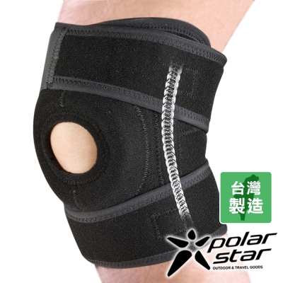 PolarStar 全開式排汗短護膝【加裝側條】P9319 (1入/組) 台灣製造