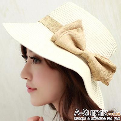 【A-Surpriz】甜心公主蝴蝶結遮陽帽(質感卡其)
