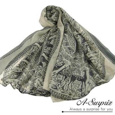 A-Surpriz 優雅復古麋鹿圖樣巴黎紗圍巾(米灰)
