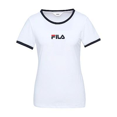 FILA 女款純棉小LOGO圓領T恤-白 5TES-1527-WT