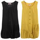 【Gennie's奇妮】不規則造型花苞棉質孕婦背心洋裝-黃/黑(G2Y15)